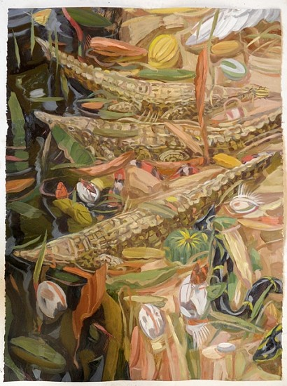 Owen Gray, Peaceful Crocodiles 2012, oil on paper