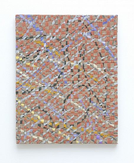 Gabriel Pionkowski, Untitled 2012, deconstructed, hand-painted, woven, cut, folded & plaited canvas, red fir, acrylic