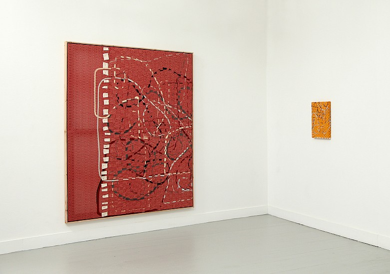 Gabriel Pionkowski, Regarding the Fold (Solo Show Installation Photo) 2014, deconstructed, hand-painted, woven, cut, folded & plaited canvas, red fir, acrylic.t-pins, artists frame