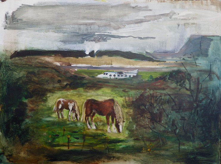 Andy Parsons, View of Standhill Airport from the Trading Estate 2011-14, oil on canvas