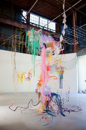 Li Ma, 633 Hours in Intergalactic! 2014, foam cord, mylar, fabric, wire, light features and plexiglas