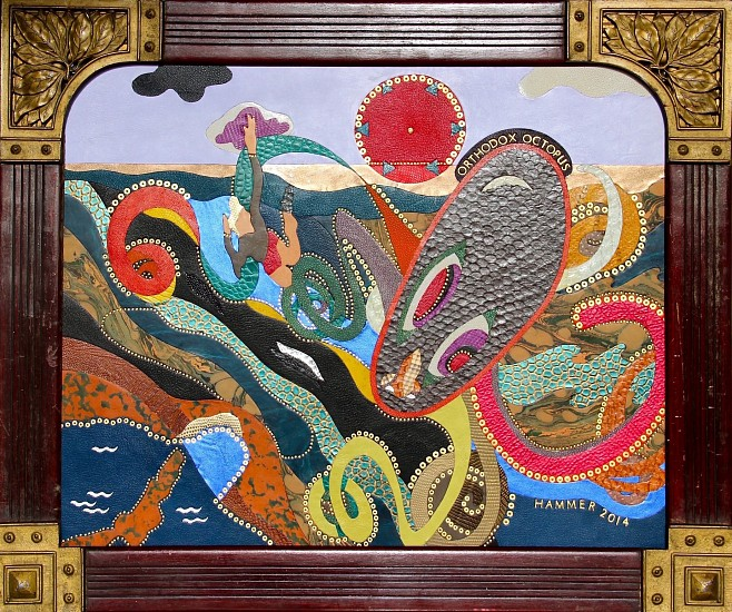 Jonathan Hammer, Orthodox Octopus 2014, exotic skins and precious metals in artists's frame