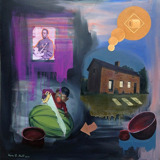 Ronald Hall, The Wash Place 2013, oil and collage on canvas