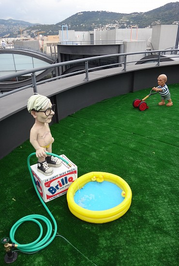 Elliott Arkin, Fountain (A Peaceable Kingdom) 2011/2013, Aqua resin, outdoor acrylic paint, electric water pump, rubber hose, inflatable kiddie pool, iron plumbing fixture, rubber duckies