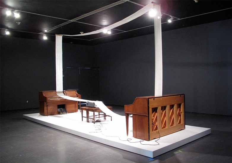 Mauricio Ancalmo, Dualing Pianos; Agapé Agape in D Minor 2011, wood, metal, electrical cords, player pianos, word processor, player piano rolls, sound