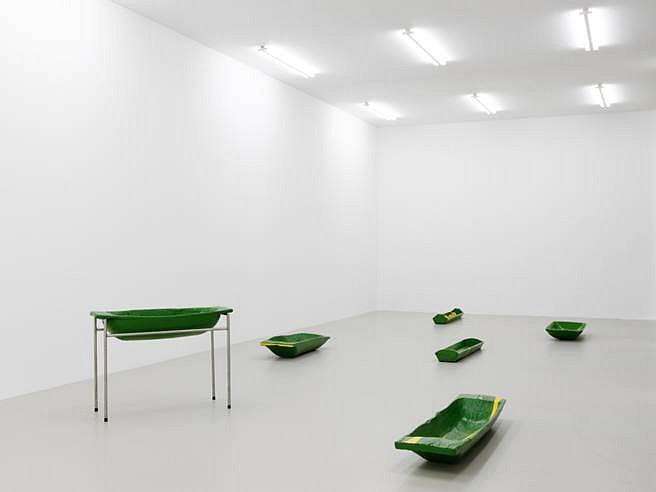 Olga Balema   One re-enters the garden by become a vegetable (Kunstverein N�rnberg installation shot) , 2015   antique troughs, paint, steel, latex, dimensions variable