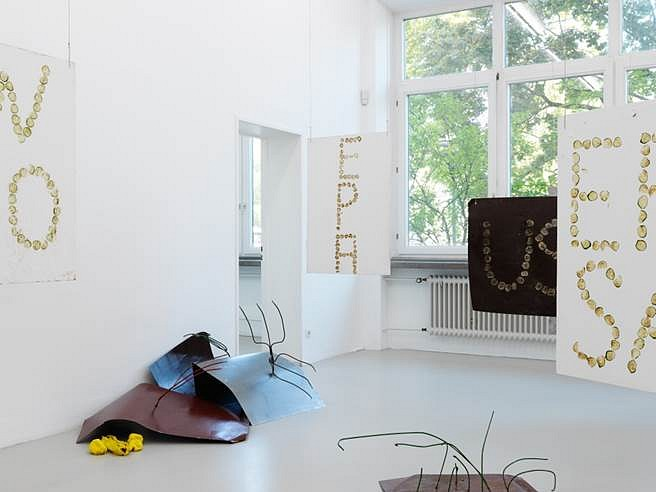 Olga Balema, One re-enters the garden by become a vegetable (Kunstverein Nürnberg installation shot) 2015, steel, paint, cucumbers, latex