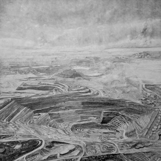 Nina Elder, Kennecott Corporation: Escondida Mine, Chile 2015, graphite and rock powder on paper