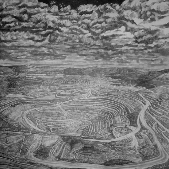 Nina Elder, Kennecott Corporation: Yanacocha Mine, Peru 2015, graphite and rock powder on paper
