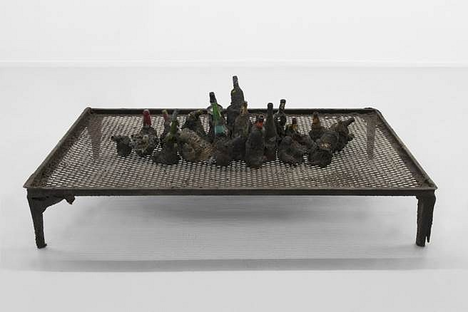 Jay Heikes, Artist's Artist 2015, wood, glass, steel slag, aluminum, sand, glue, paper and burlap