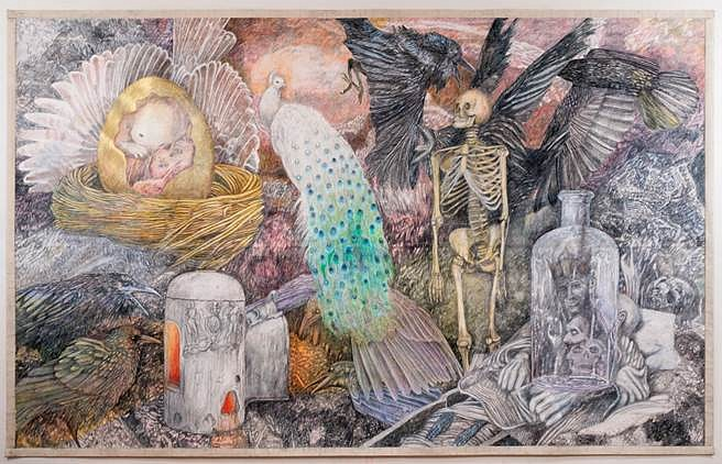 Ann McCoy, The Death of My Father 2012, pencil on paper on canvas