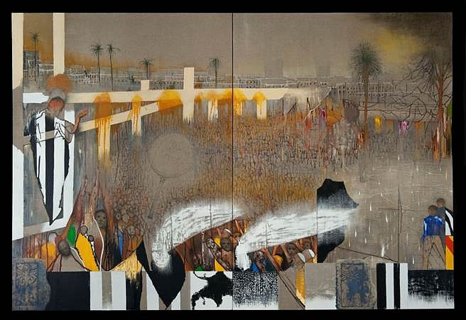 Irving Petlin, Gaza Guernica 2007, oil on linen