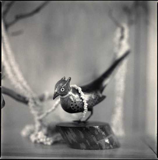 Hiroshi Watanabe, Carved Bird Dressed with Shell Beads, Tule Lake, California 2009, Toned silver gelatin print