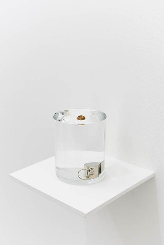 Zarouhie Abdalian   Buoy , 2014   whistle, cork ball, glass, water, 3 5/8 x 2 7/8 in.
